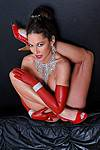 Sexy High Heels presents Ayla di Pietro - Sexy in red latex and red high heels and very flexible