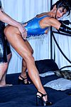 Sexy High Heels presents Elizabeth Carson in blue latex action and black high heels